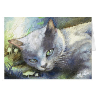 Gray Cat cute kitten animal painting realism Card