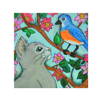 Gray cat looking at spring bluebird painting canvas print