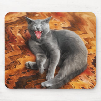 Gray Cat on a Chevron Patterned Pillow Painting Mouse Pad