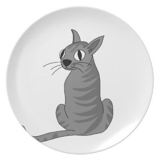 Gray cat party plates