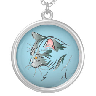 Gray Cat Profile Silver Plated Necklace