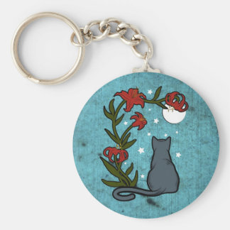 Gray Cat under the moon with tiger lilies Keychain