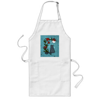 Gray Cat under the moon with tiger lilies Long Apron