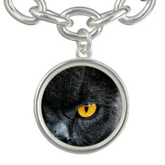 Gray Cat with Orange Eyes Bracelet