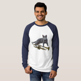 Gray Cat with Trumpet Shirt