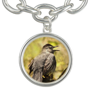 Gray Catbird Singing His Song Charm Bracelet