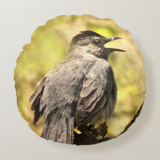 Gray Catbird Singing His Song Round Pillow