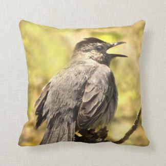 Gray Catbird Singing His Song Throw Pillow