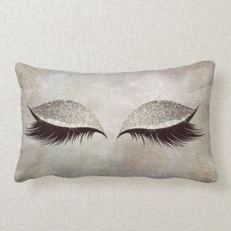 Gray Chalkboard Cement Glitter Eyes Makeup Lashes Lumbar Pillow