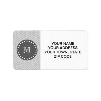 Gray & Charcoal Modern Chevron Custom Monogram Label