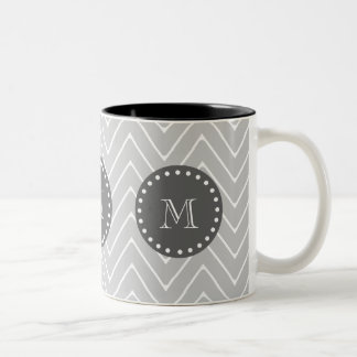 Gray & Charcoal Modern Chevron Custom Monogram Two-Tone Coffee Mug