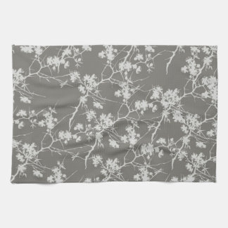 Gray Cherry Blossoms Swirl Kitchen Towel