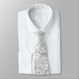 Gray Cherry Blossoms Tie