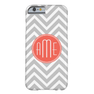 Gray Chevron and Coral Custom Monogram Barely There iPhone 6 Case