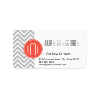 Gray Chevron and Coral Custom Monogram Label