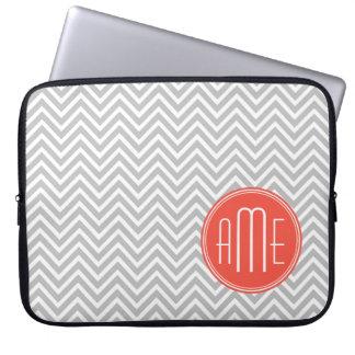 Gray Chevron and Coral Custom Monogram Laptop Sleeve