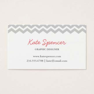 Gray Chevron and Polka Dot Business Card
