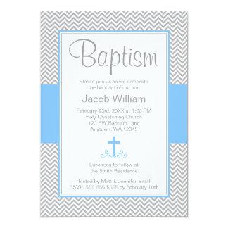 "Gray Chevron Blue Cross Boy Baptism Christening 5"" X 7"" Invitation Card"