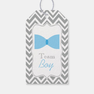 Gray Chevron Gender Reveal Bow Tie Team Boy Gift Tags