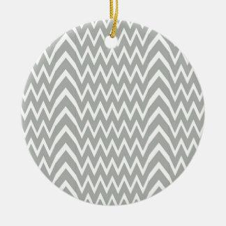 Gray Chevron Illusion Ceramic Ornament