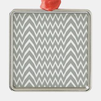 Gray Chevron Illusion Metal Ornament