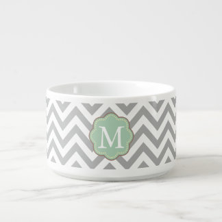 Gray Chevron Monogram Bowl