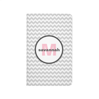 Gray Chevron Monogram Journals