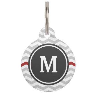Gray Chevron Monogram Pet Name Tag