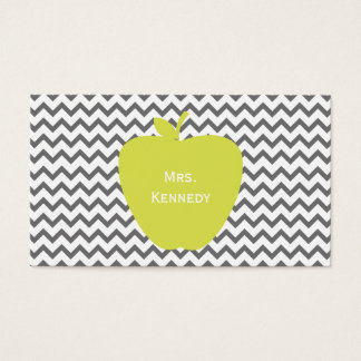 Gray Chevron Neon Apple Teacher Business Card
