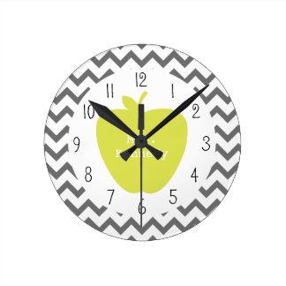 Gray Chevron Neon Apple Teacher Round Clock