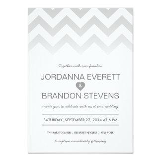 Gray Chevron Ombre Wedding Invitations