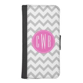Gray Chevron Pink Monogram iPhone 5/5S Wallet Case Phone Wallet