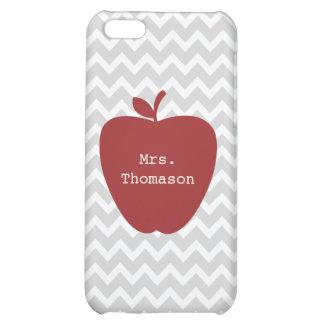 Gray Chevron Red Apple Teacher iPhone 5c Case