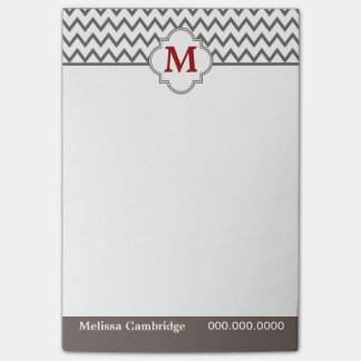 Gray Chevron Red Monogram Personalized Post-it Notes
