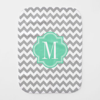 Gray Chevron with Mint Monogram Baby Burp Cloths