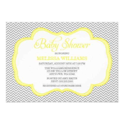 Gray Chevron Yellow Frame Baby Shower Invitations