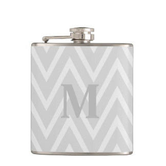 Gray Chevron Zigzag Monogram Flask