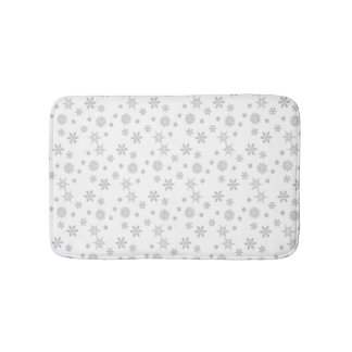 Gray Christmas Snowflakes pattern for the Holidays Bath Mat