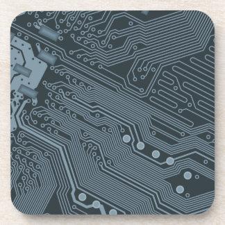 Gray Circuit Board Beverage Coaster