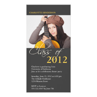 Gray class of graduation photo announcement card customized photo card