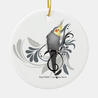 Gray Cockatiel Ceramic Ornament