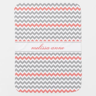 Gray Coral Chevron Baby Blanket