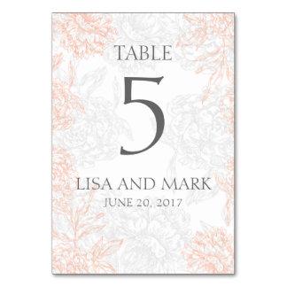 Gray Coral Floral Vintage Wedding Card