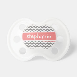 Gray & Coral Graphic Chevron Pattern - Baby Girl Pacifier