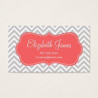 Gray & Coral Modern Chevron Stripes Business Card