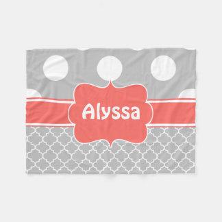 Gray Coral Quatrefoil Monogram Blanket