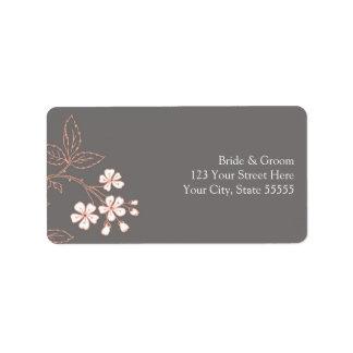 Gray Coral Wedding Custom Return Address Labels