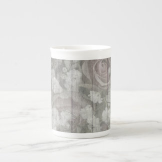 Gray Country Chic Roses Tea Cup