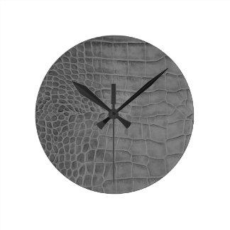 Gray crocodile round clock