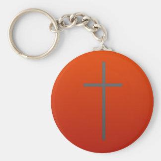 Gray Cross Red Key Chain